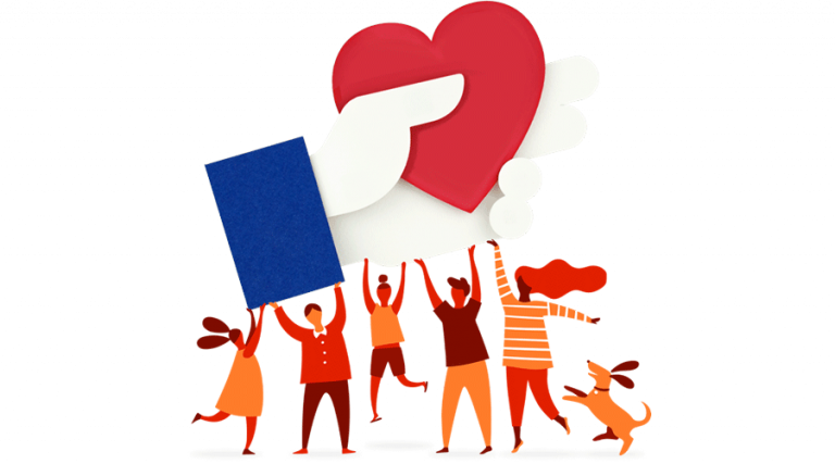 Facebook's giving illustrative graphic. Group of people working together to hold up their donation icon.