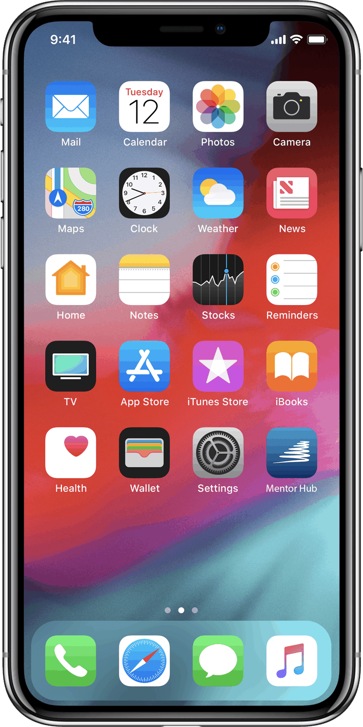 iPhone home screen with Mentor Hub app icon