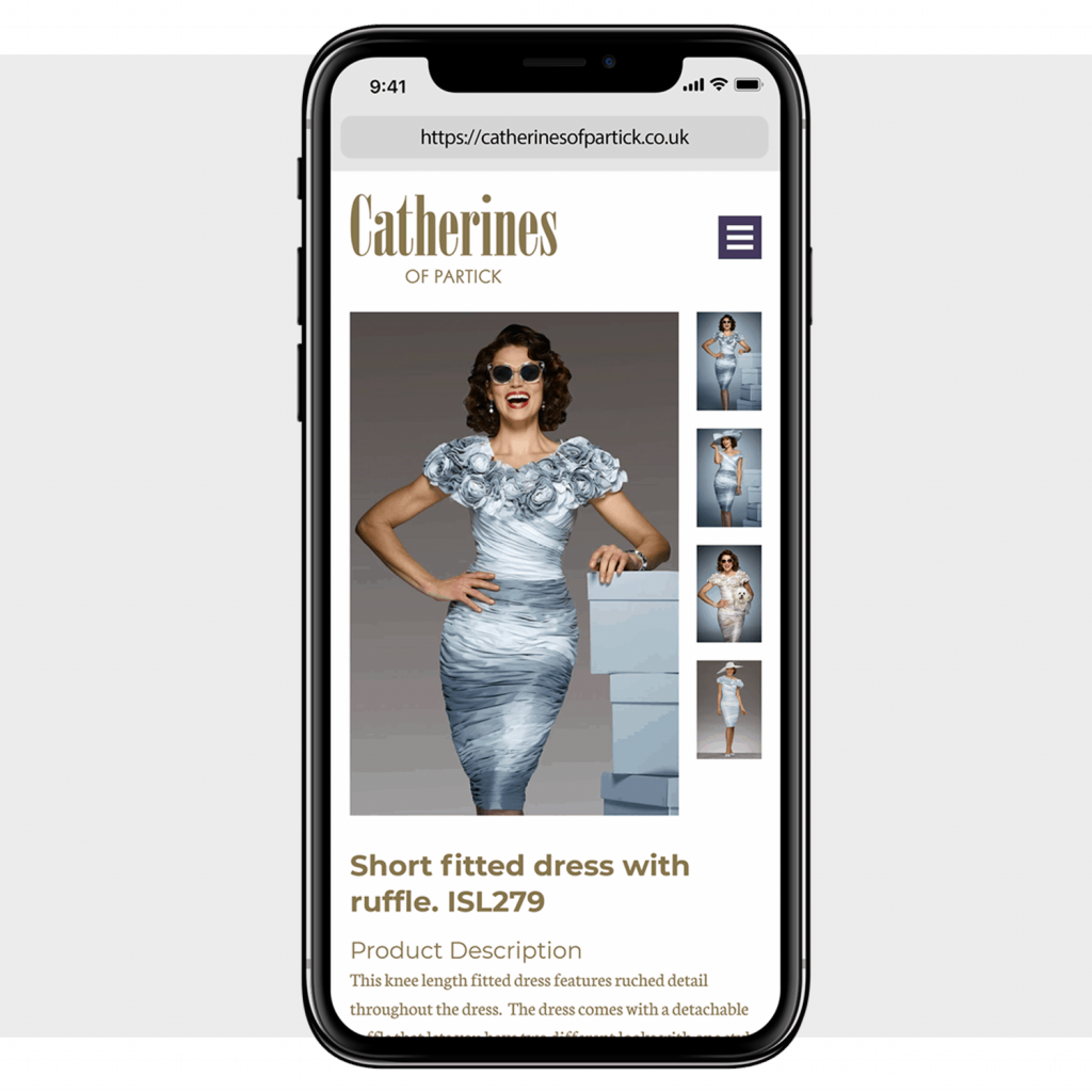 iPhone with screenshot of a Catherine's of Partick product page