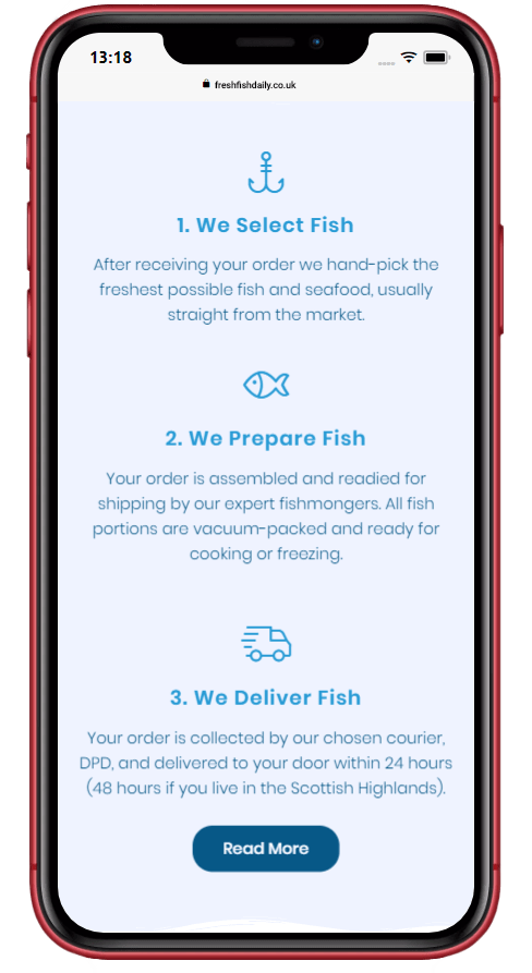 iPhone screenshot of the Fresh Fish Daily process using friendly icons and small blocks of text