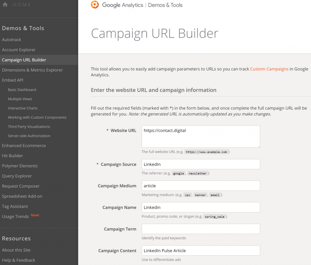 Screenshot of the Google Campaign Builder page