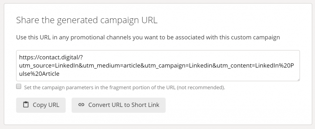 Screenshot of the URL that's generated by the Google Campaign Builder